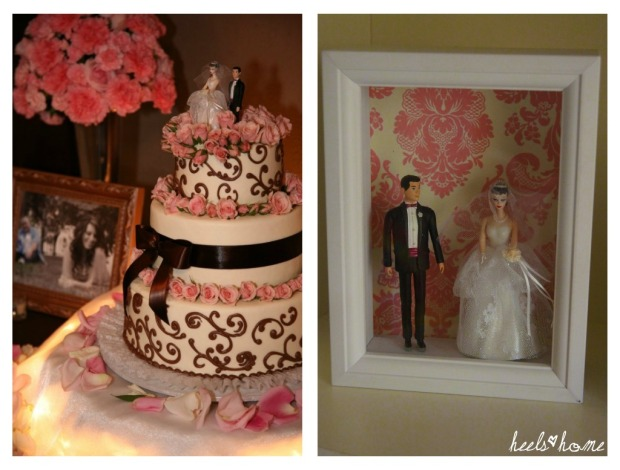 DIY projects, Barbie and Ken wedding cake topper, barbie cake topper, barbie and ken hallmark, shadow box, damask, pink wedding cake, brown and pink wedding, brown haired barbie, heelsandhome, heather groves