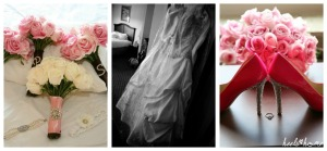 wedding bouquet, dress and shoes, heelsandhome