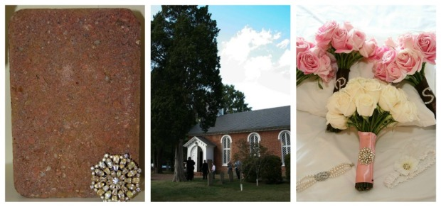wedding church brick and bouquet brooch